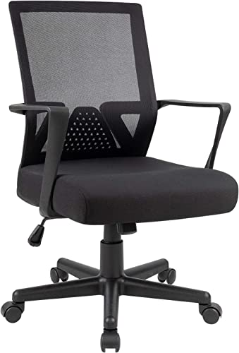 Furniwell Office Chair Ergonomic Desk Chair Mid Back Modern Computer Chair Task Swivel Chair Mesh Adjustable Chair