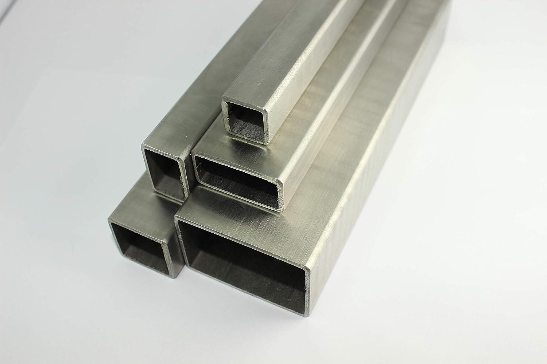 Edelstahl Vierkantrohr Rechteckrohr 80x80x2,0mm L/änge=1500mm Gel/änder Quadratrohr V2A geschliffen Korn 240 Pfosten