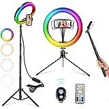 25,4 cm LED ringlampa RGB selfie ringlampa med justerbart stativ och telefonhållare för liveströmning, videoinspelning…