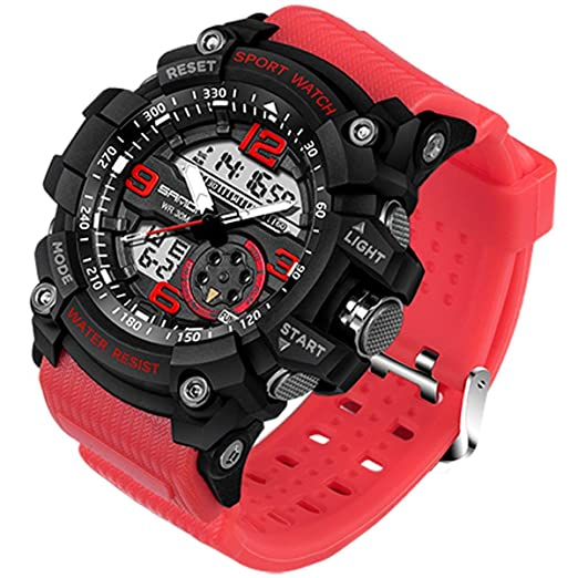 Sanda Hombres Relojes Analógico Digital Deporte Militar LED Cuarzo Cronómetro electrónico Verde Azul Rojo Gris Negro 759: Amazon.es: Relojes