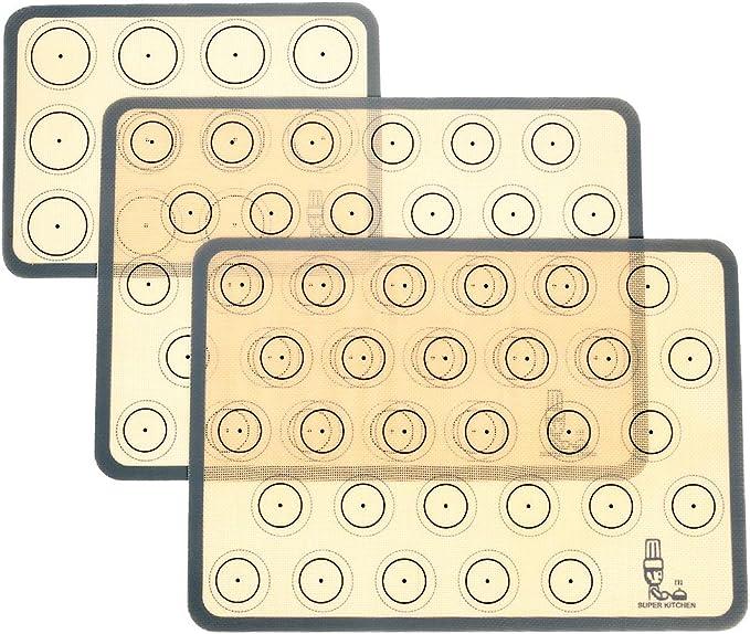 Tapete de silicona antiadherente para hornear, Lámina de horno para Macaron, Galletas, Pasta, Pizza, Pan, Ecológico y Reutilizable, Resistente al ...