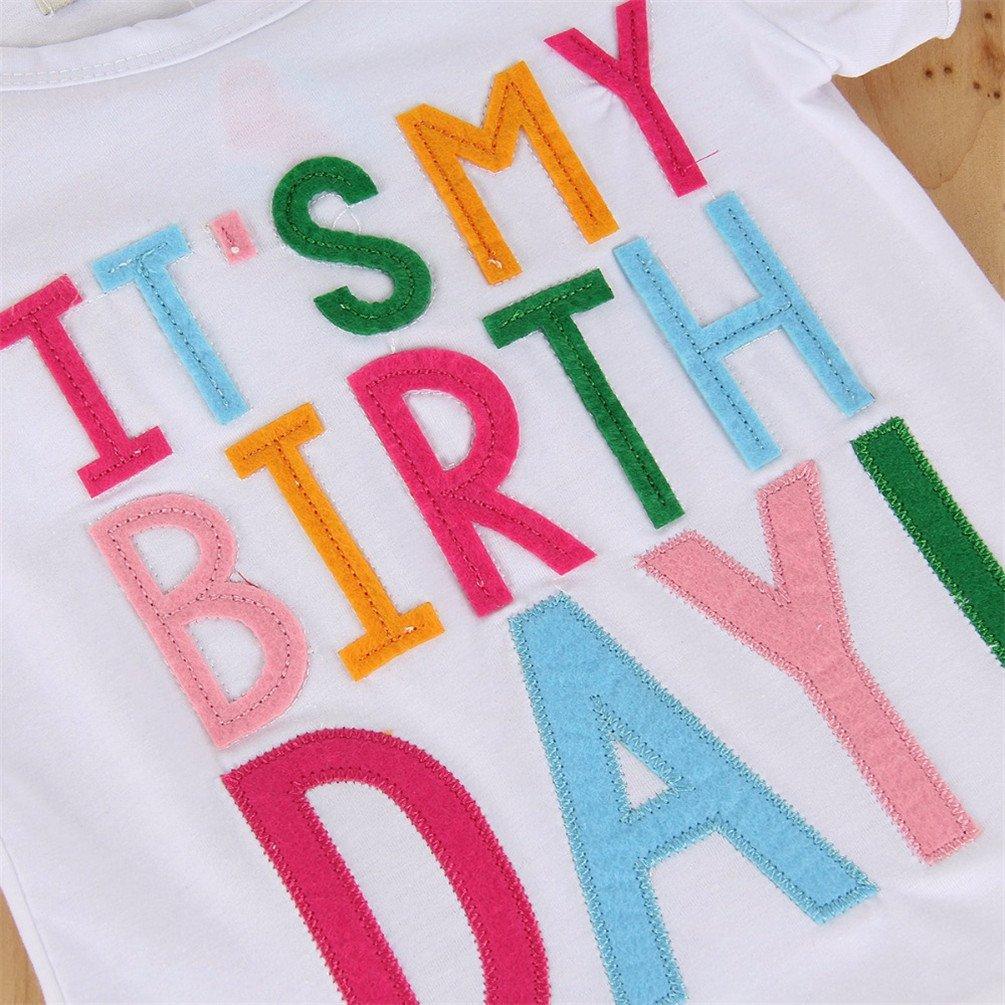 Baby Girl Its My Birthday Letter Print T-Shirt with Rainbow Tutu Dress Set 1-6T