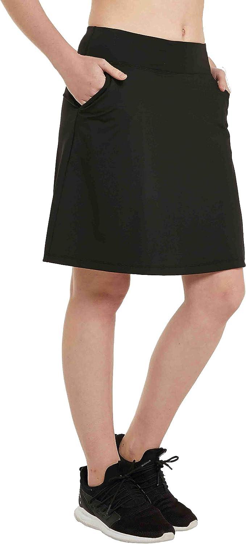 HonourSex Women Knee Length Skirts Causal Skorts with Pockets Longer Length Golf Skirts