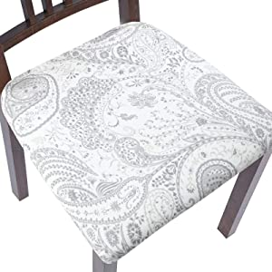 ColorBird Stretch Spandex Printed Chair Seat Covers with Elastic Ties - Removable Universal Anti-Dust Dining Upholstered Chair Seat Cushion Protector Slipcovers for Kitchen Hotel Office (4, Paisley)