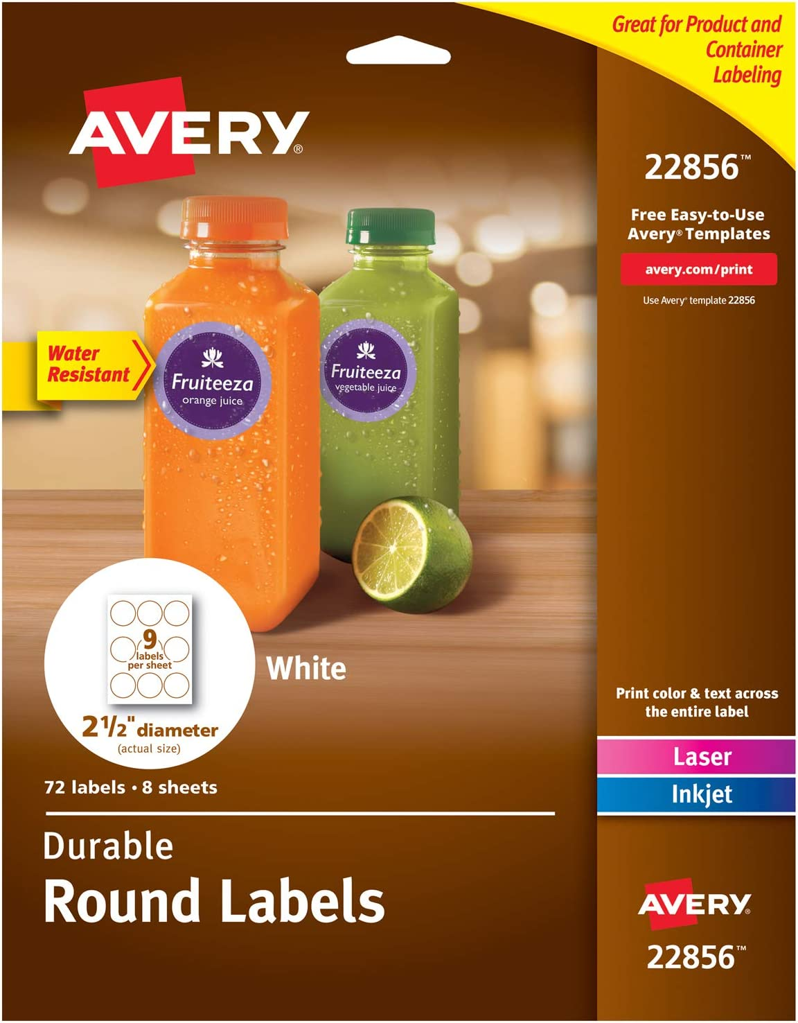 """Avery Round Labels with Sure Feed for Laser & Inkjet Printers, 2.5"""", 72 Water Resistant White Labels (22856)"""