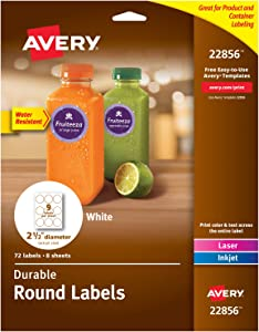 "Avery Round Labels with Sure Feed for Laser & Inkjet Printers, 2.5"", 72 Water Resistant White Labels (22856)"