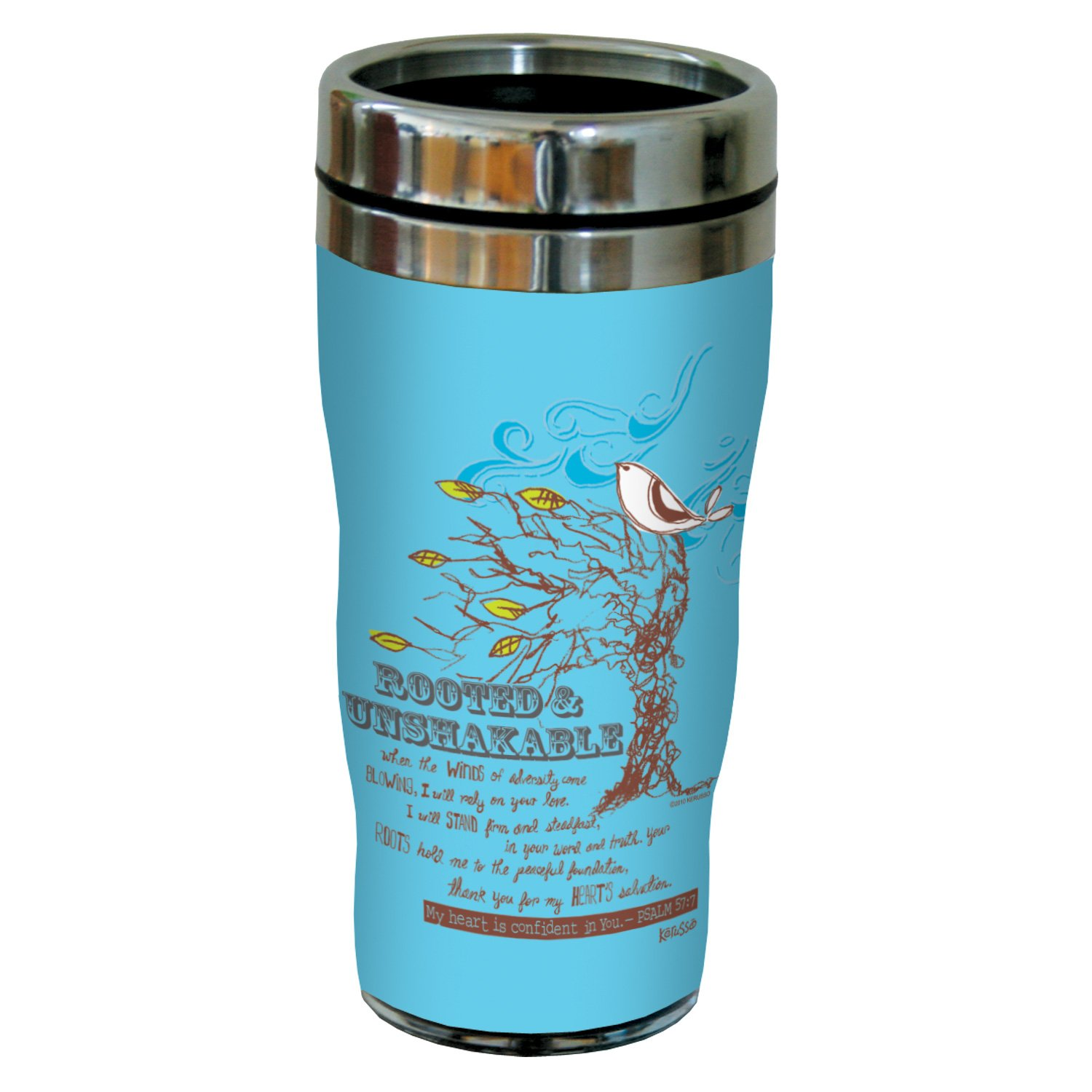 Tree-Free Greetings sg24330 Rooted: Psalm 57:7 Sip 'N Go Stainless Steel Lined Travel Tumbler, 16-Ounce