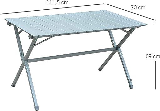 HOMCOM Outsunny Mesa Plegable Camping de Picnic 111,5x70x69cm Mesa Aluminio + Bolsa Transporte