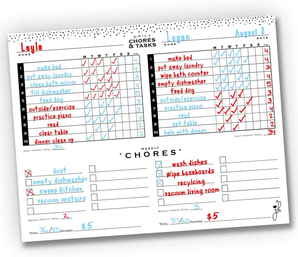 Amazon Com Jennakate Mid Mod Multiple Child Family Chores Chart For Fridge Routine Behavior Homeschool Schedule Dry Erase Magnet 18 X14 Double Chore No Marker Office Products