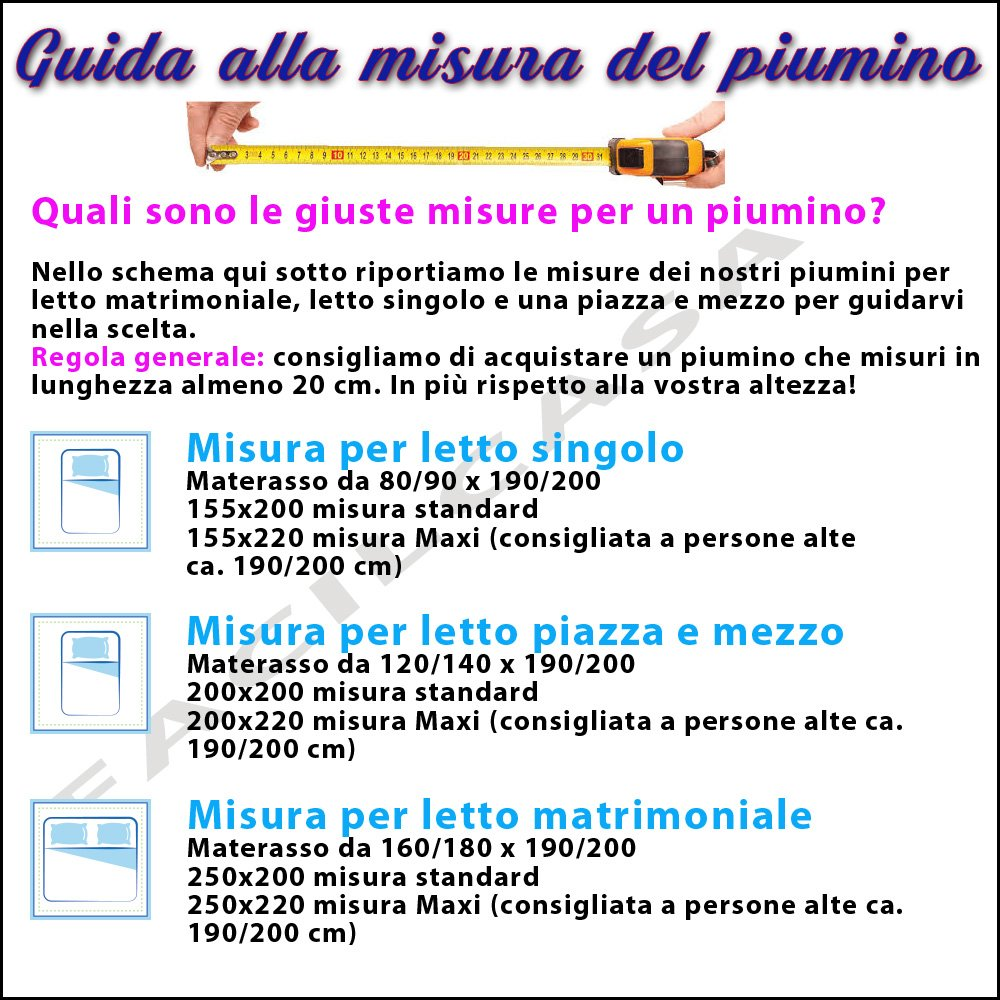Piumone matrimoniale misure offertadilavoro for Amazon piumoni matrimoniali