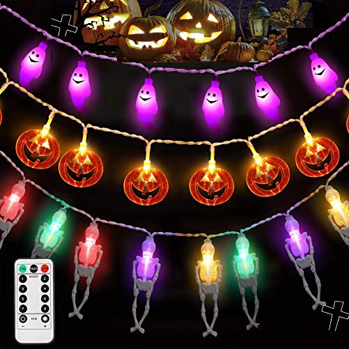 LUNSY Halloween String Lights with Remote, Battery Operated, Colorful Skeleton Purple Ghost Orange Pumpkin, 80LED, 22.74ft, 8 Modes, Indoor Outdoor Halloween Decorations