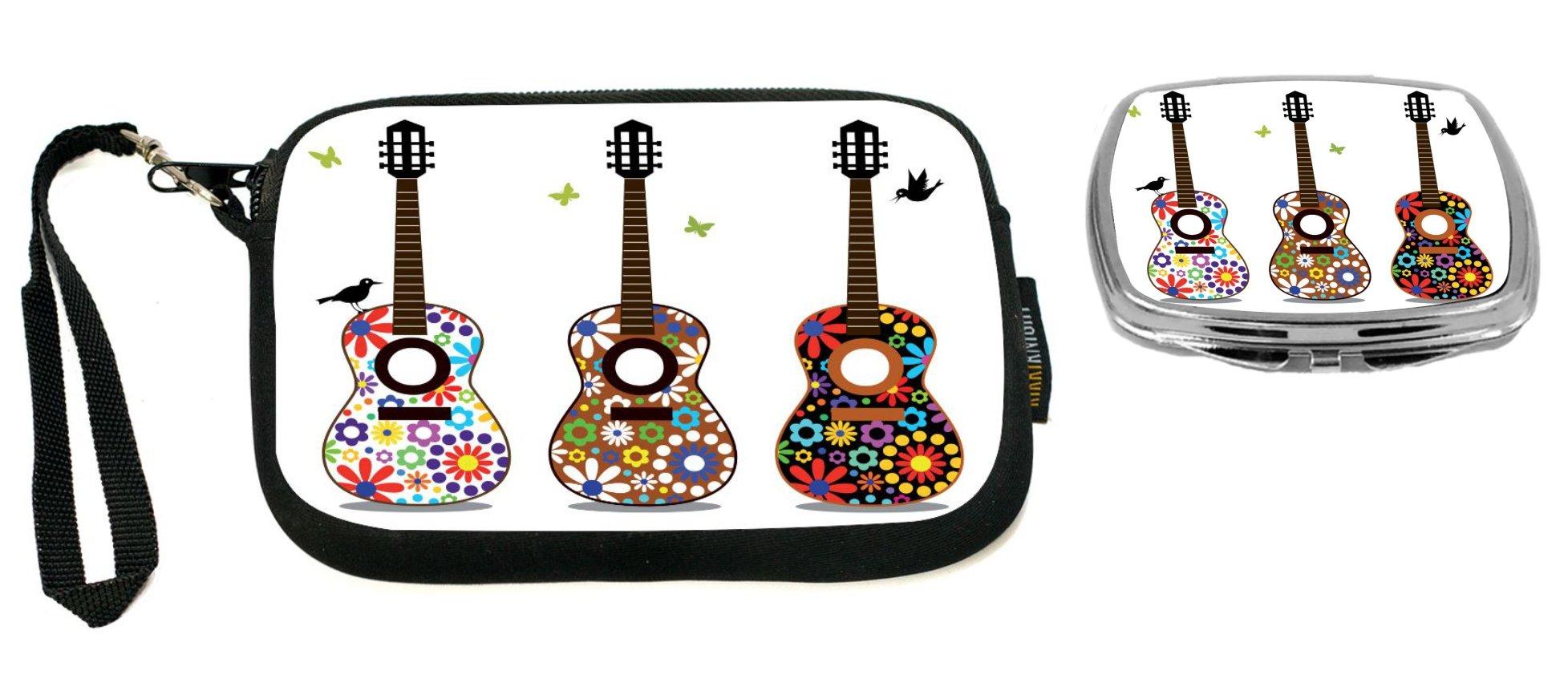 Rikki Knight Hippy 60's Flower Power Guitars Design Neoprene Clutch Wristlet with Matching Square Compact Mirror