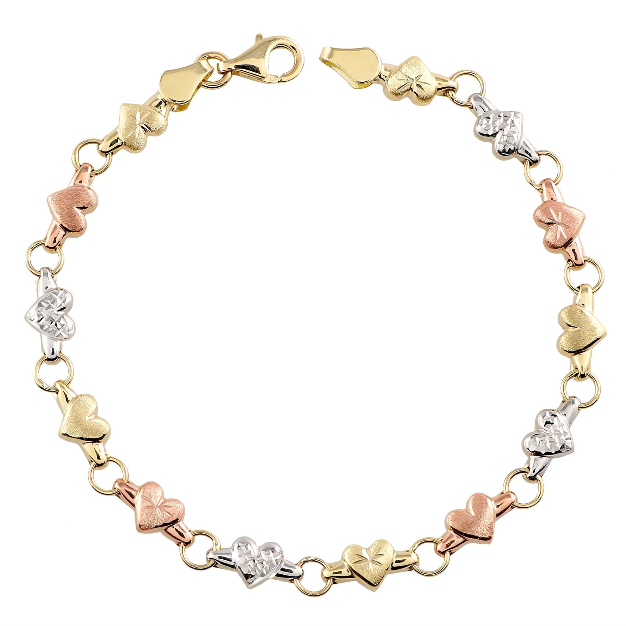 Tousi Gold Chain Link Bracelet- 14K Tri Color Jewelry Bracelets links – Cute Rose White Yellow Gift for Her - Size 7.25 Inches