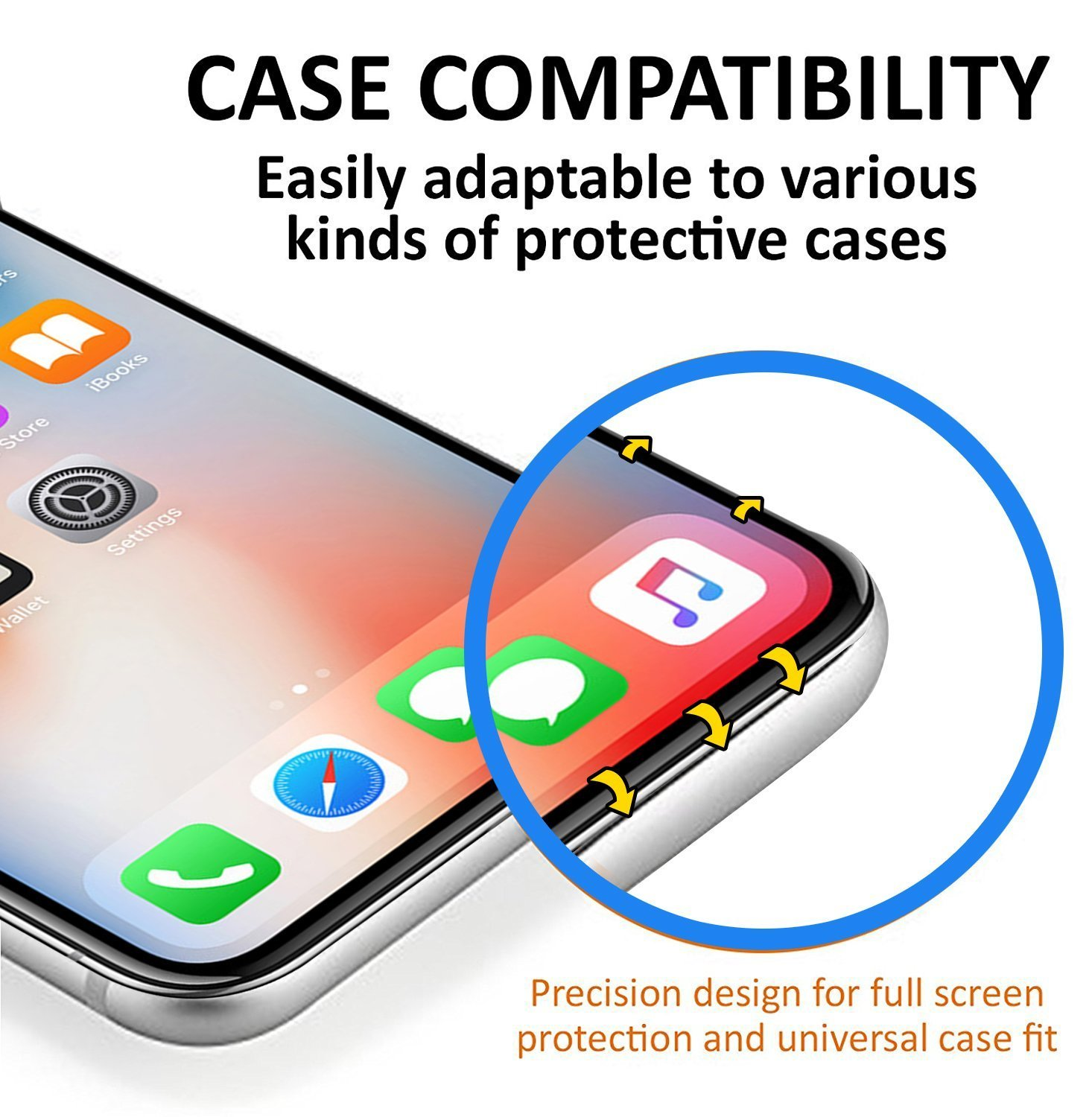 iPhone X Screen Protector, SAMAR iPhone X Tempered Glass, (3 in Pack) 3D Glass Display Case Friendly with (Alignment frame) Screen Protector for Apple iPhone X / 10 (2 Front, 1 Back)