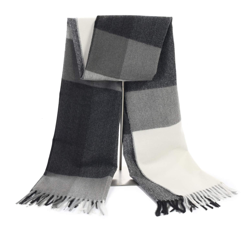 LERDU Women's Cashmere Black White Combo Blanket Shawl Wraps Gift Box Wrapped Large Winter Pashmina Stole Scarf for Ladies
