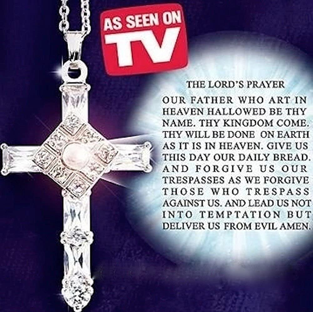 fd34573d6ab61 Lord's Prayer Cross Necklace As Seen on TV Sterling Silver Crystals Gift Box