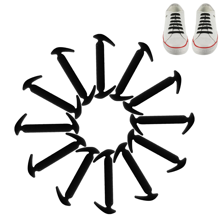 12 pcゴムTie靴レースSilconeスニーカー靴紐なし子供大人 B071P45RHP ブラック ブラック