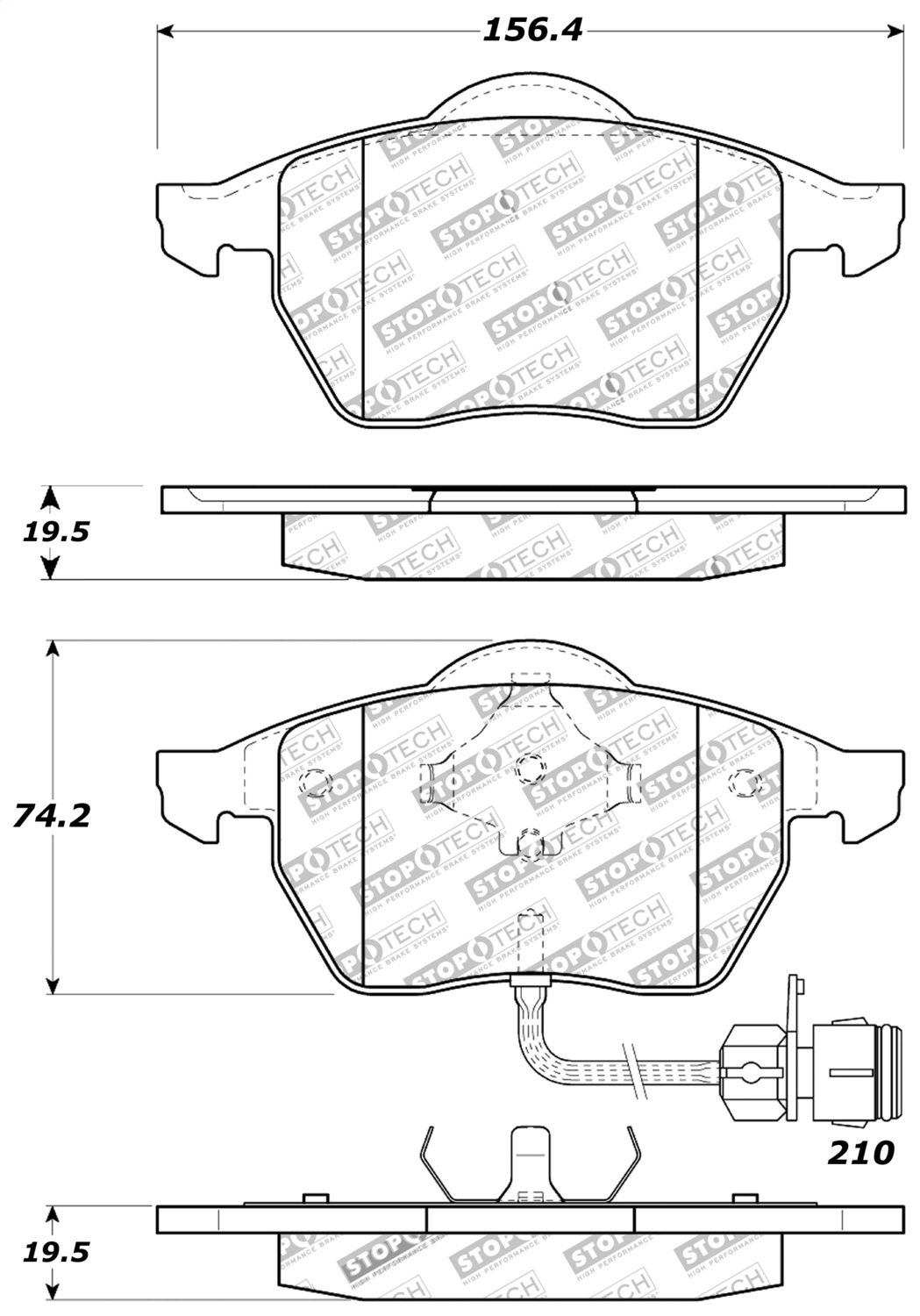 StopTech 309.05550 Street Performance Front Brake Pad