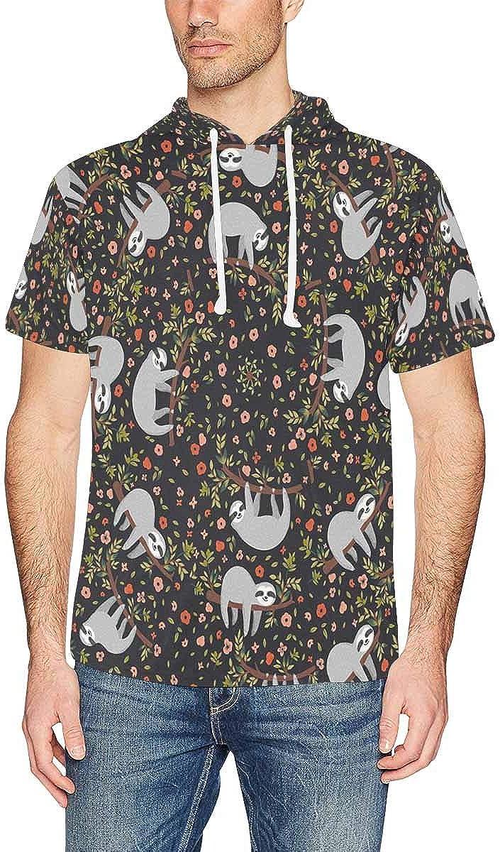 INTERESTPRINT Mens Short Sleeve Hoodies Pullover French Bulldog Sugar Skull Drawstring Shirts Tops