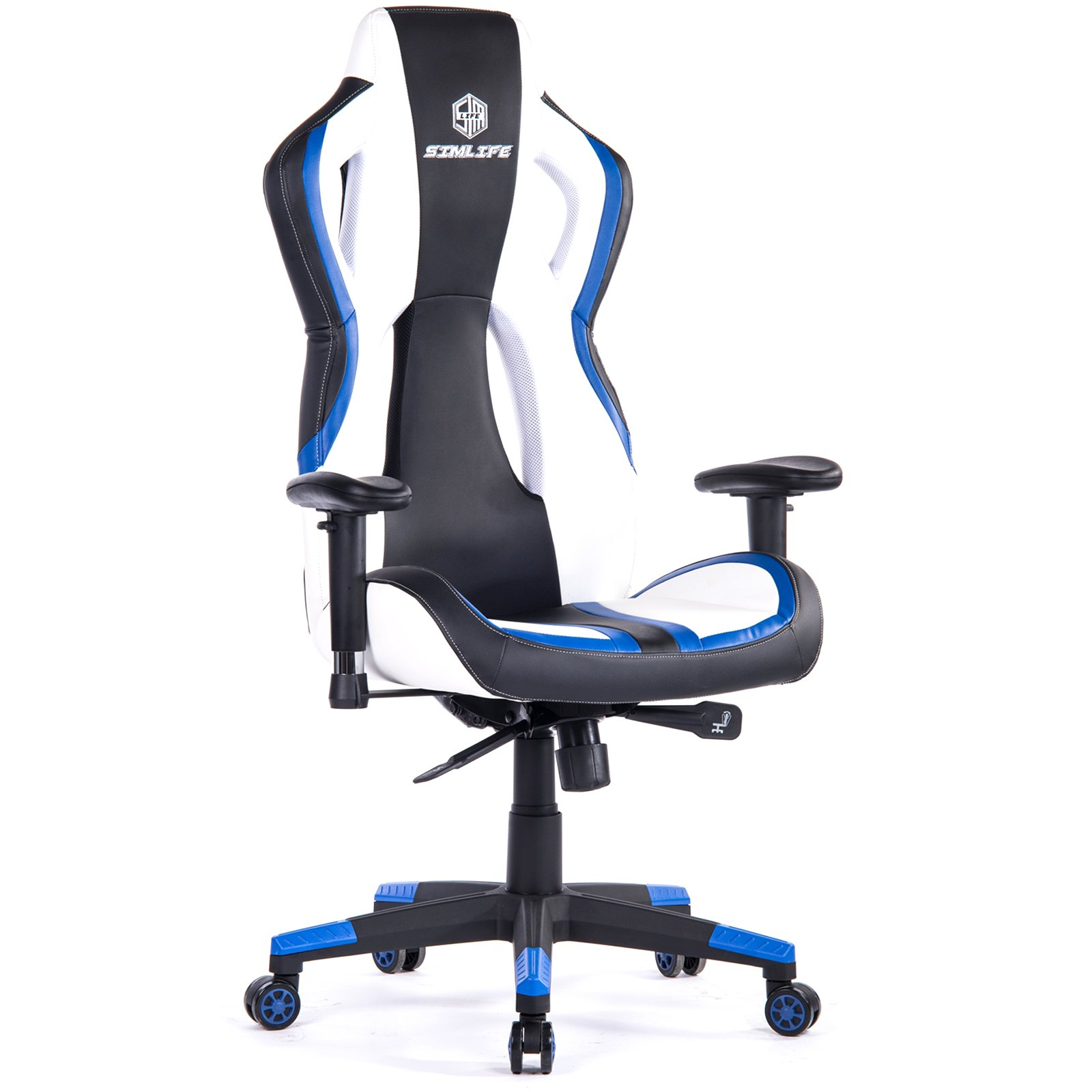 SimLife Executive Swivel Leather Gaming Racing Chair High-Back Office Computer Adjustable Desk Task Chair Blue/White