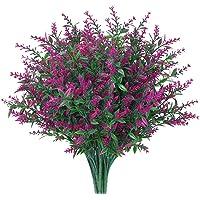 GREENRAIN 8 Bundles Artificial Lavender Flowers Outdoor Fake Flowers for Decoration UV Resistant No Fade Faux Plastic…