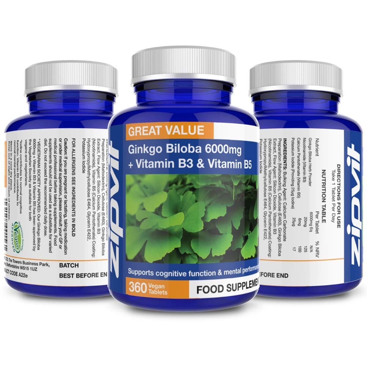 Ginkgo Biloba 6000mg + Vitamin B3 & B5 (360 Tablets): Amazon.es: Salud y cuidado personal