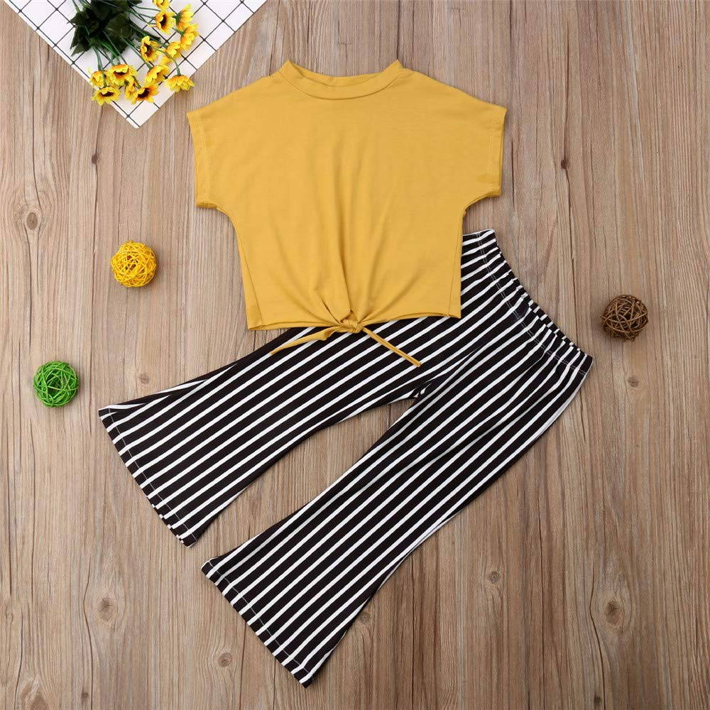 412e65b5e9a47 Amazon.com  Fashion Kids Toddler Girls Striped Bell Bottom Outfit Yellow  Crop Top Shirts+Flare Pants Summer Clothes Set  Clothing
