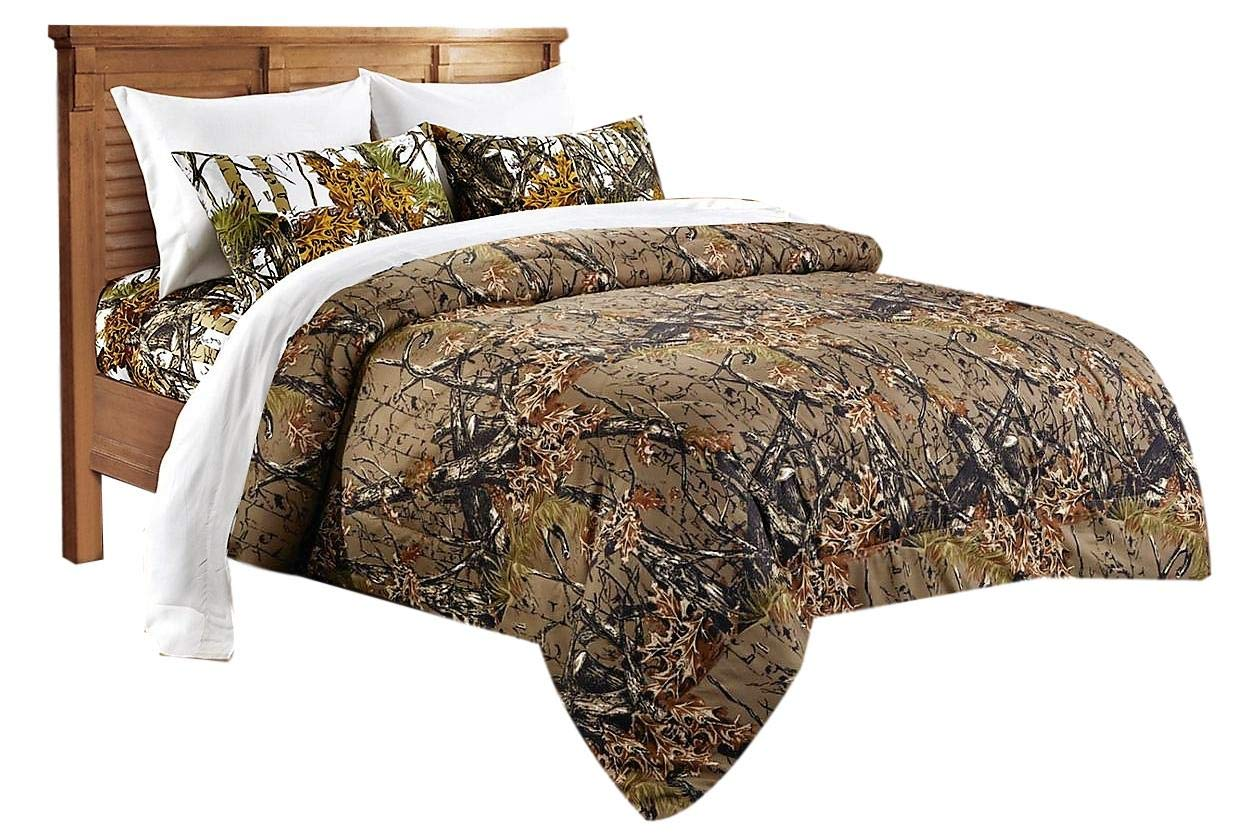 20 Lakes Hunter Camo Brown & White Camo Comforter,Sheet, Pillowcase Set (Cal King, Brown/White)