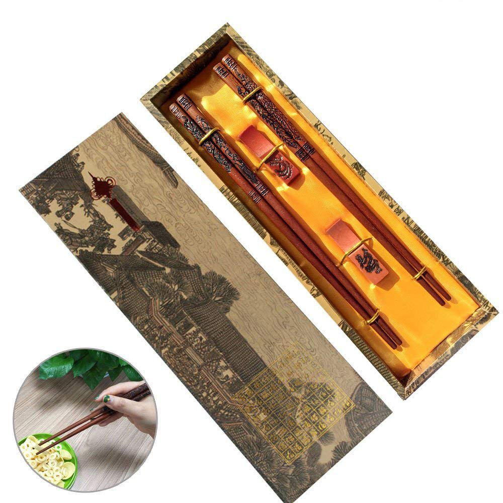 Chopsticks Reusable with Gift Wrapping Package, MHKBD Wooden Chop sticks with Engraved Dragon and Phoenix Chinese Chopsticks Set with Holders, Cool Box & Storge Bag for Birthday Wedding Business, 9''