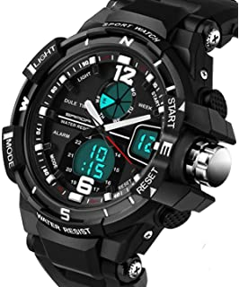 Watches for Men Digital Analog Military Sport Outdoor Big Face Black Mens Wristwatch Sanda Watch 289