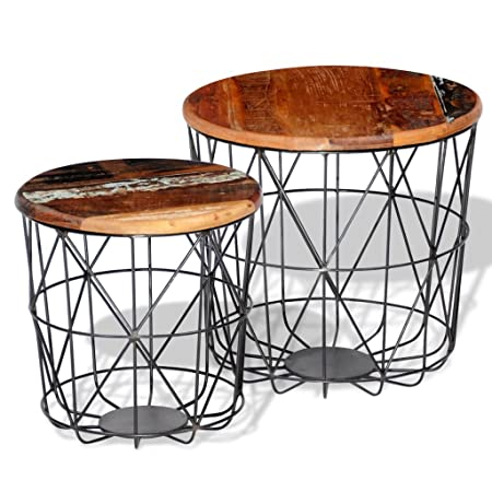 Anself Vintage Round Wood Side Table Coffee Tables End Table Curved