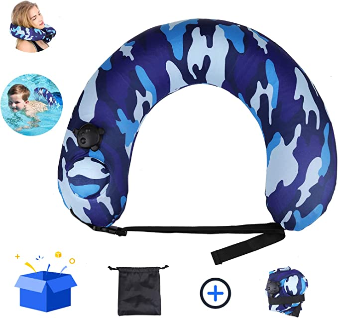 Multi-Purpose Inflatable Pool Swimming Ring with Waterproof Case TOCO FREIDO Portable Swimming Belt Life Belts Swimming Kickboards Flotation Device Neck Back Float Learn to Swim Tube Trainer