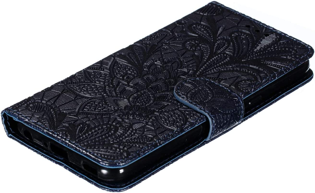 Nokia 4.2 Case Shock-Absorption PU Leather Flip Cover Notebook Wallet Case Embossed Lace Flower with Magnetic Closure Stand Card Holder ID Slot Soft Bumper Protective Skin for Nokia 4.2 red