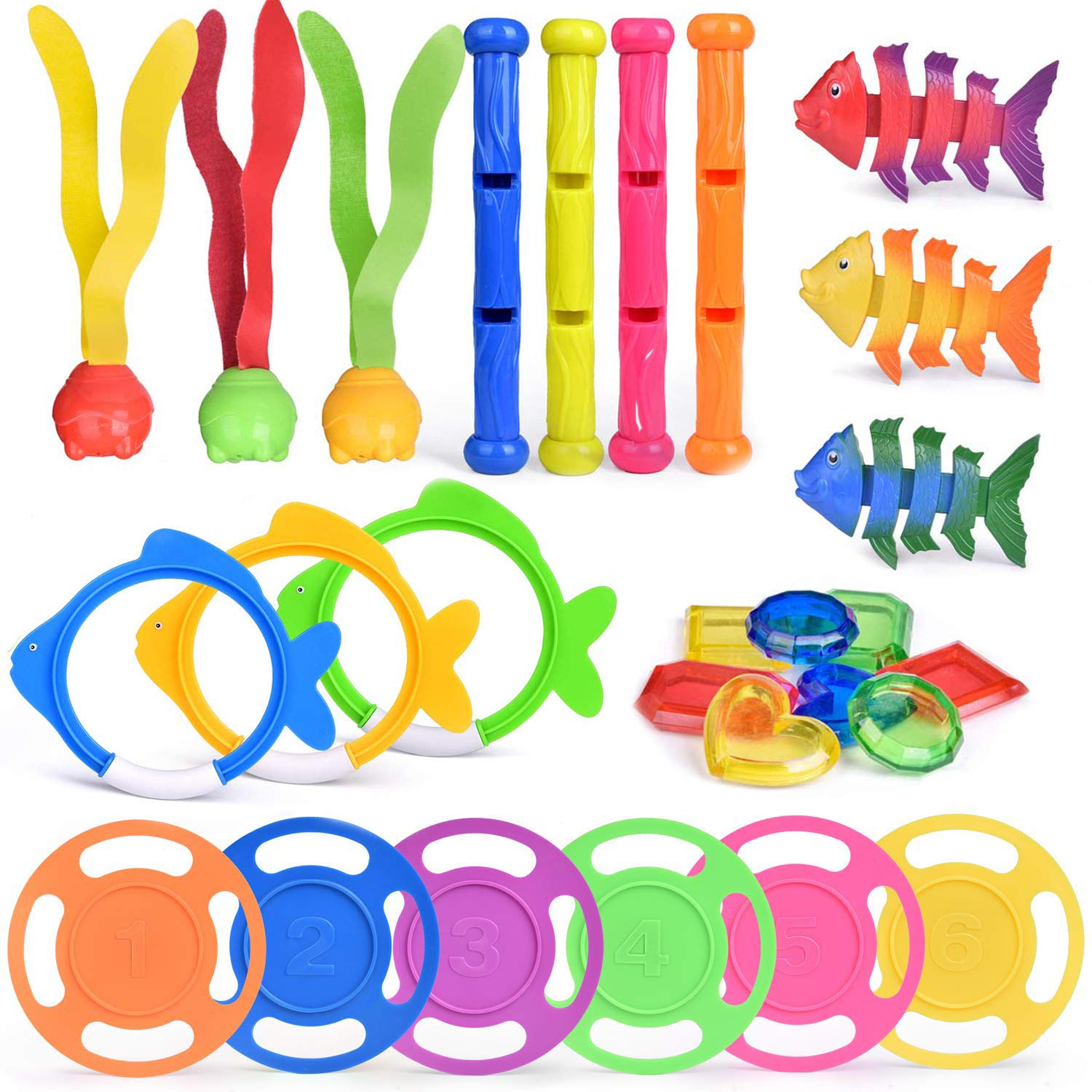 30 PCs Diving Pool Toys Underwater Swimming Pool Toys Set, Pool Party Favors for Kids by FUN LITTLE TOYS