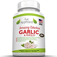 Amazing ODORLESS Garlic and Parsley Supplement Softgels for Men and Women. Equal...