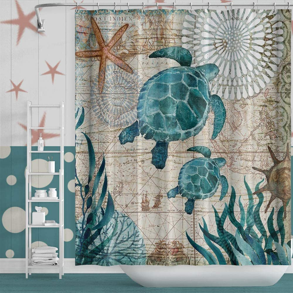 "Musemailer Waterproof Polyester Sea Turtle Shower Curtain 60""x72"" Underwater World Sea Grass Starfish Compass Map Fabric Quick-Dry Nautical Theme Shower Curtain for Bathroom Bathtub Shower Room"