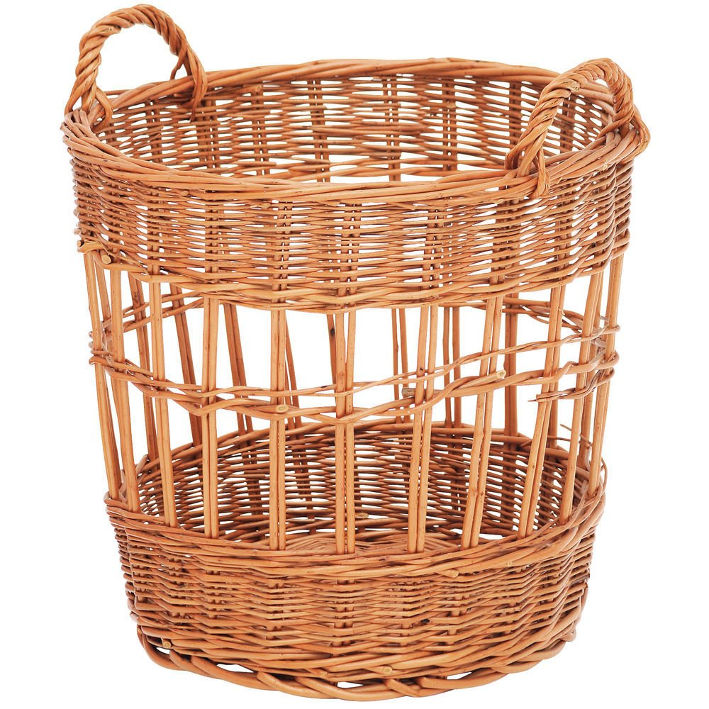Baguette Basket with Handles Round Natural Willow - 17''Dia x 16''H