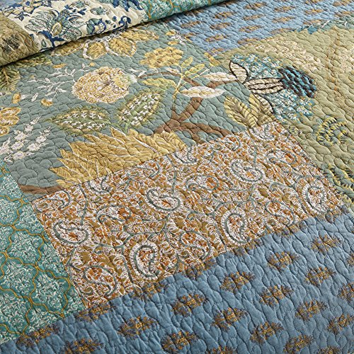 NEWLAKE Bohemian Floral Pattern Bedspread Quilt Set with Real Stitched Embroidery,Queen Size
