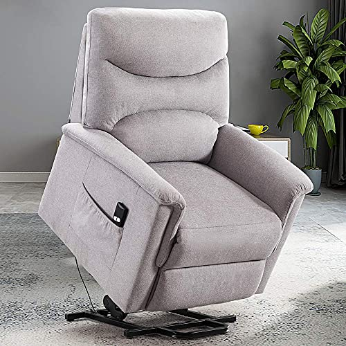 Bonzy Home Power Lift Recliner Chair for Elderly, Overstuffed Cozy Single Sofa for Living Room – Thick and Firm Padded Reclining Chair Light Grey