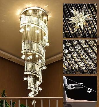 Moderna escalera de caracol doble lámpara colgante K9 Crystal lámpara de araña larga araña Villa Building piso de la sala LED gran araña yd&h (tamaño : 60cm*1.8m): Amazon.es: Iluminación