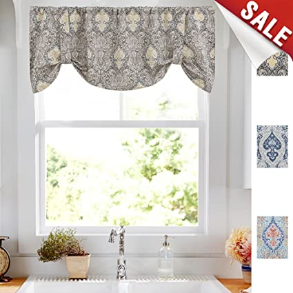 Amazon Com Damask Printed Tie Up Valances For Kitchen Windows