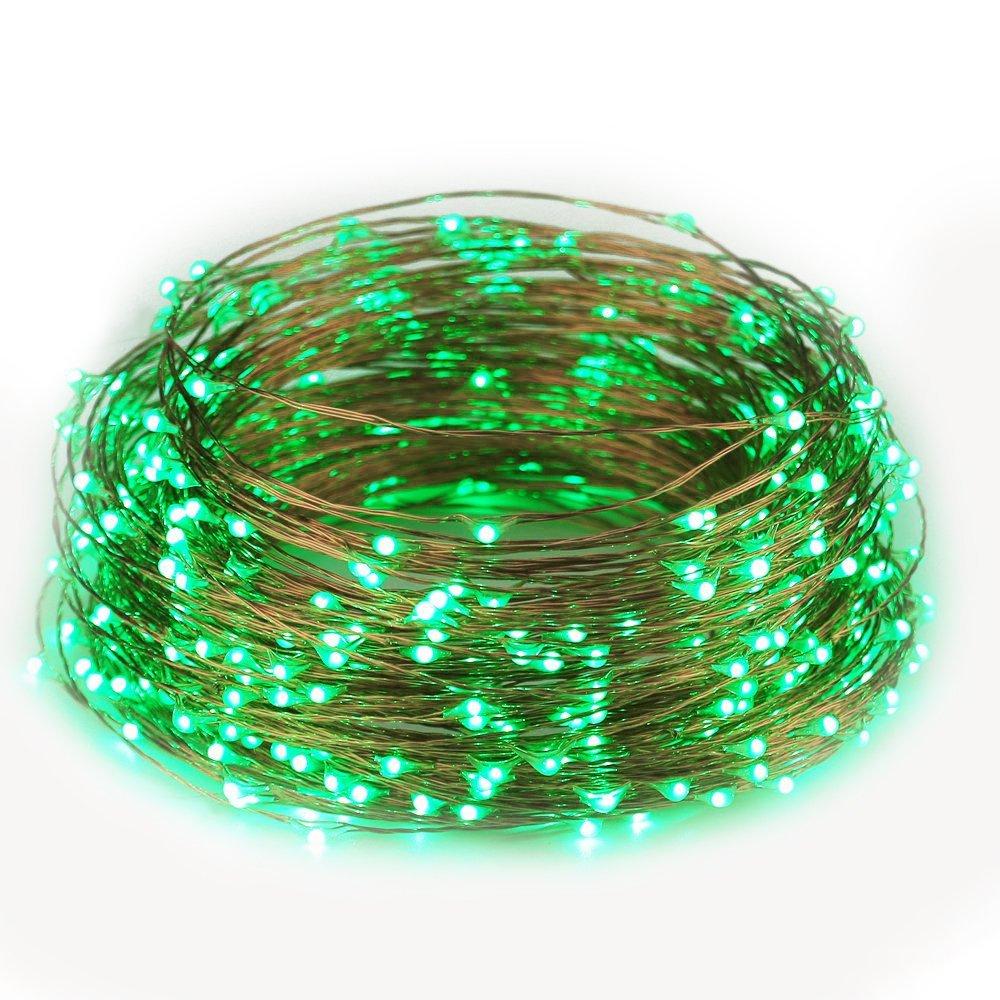 ER CHEN(TM) 165ft Led String Lights,500 Led Starry Lights on 50m Copper Wire String Lights + 12V DC Power Adapter(Green)