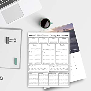 Weekly Meal Planner Pad 2021, daily to do list, Grocery List, Shopping Planning System Notepad Organizer, Food Tracks Water, Healthy Snacks, and Weight Loss fitness planner (8.5 x 11)