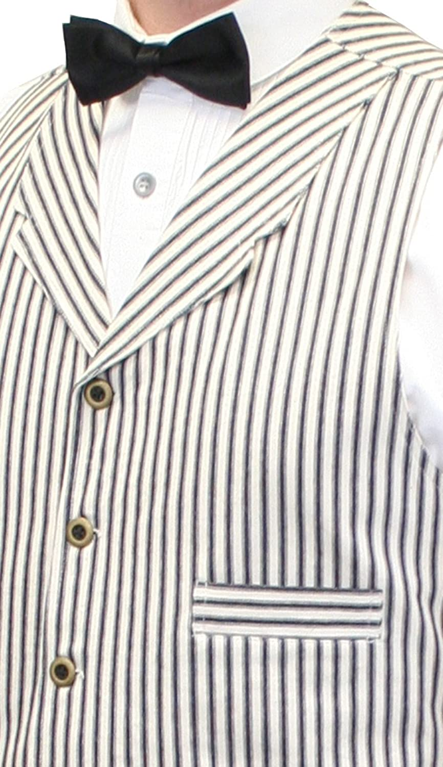 1900s Edwardian Men's Suits and Coats Historical Emporium Mens Summerhill Cotton Striped Dress Vest $59.95 AT vintagedancer.com