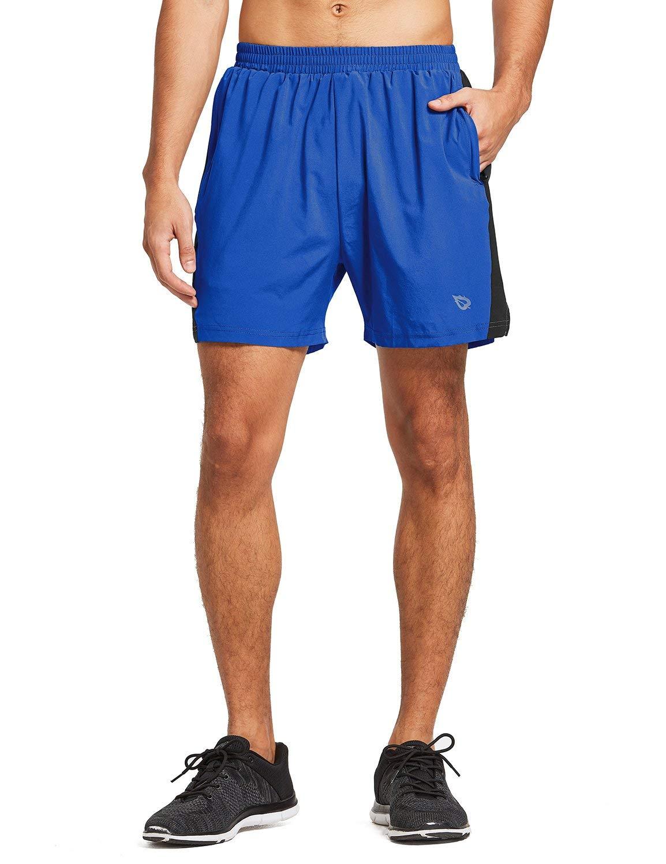 BALEAF Men's Woven 5 Inches Running Workout Shorts Zipper Pocket Royal Blue Size XXL by BALEAF