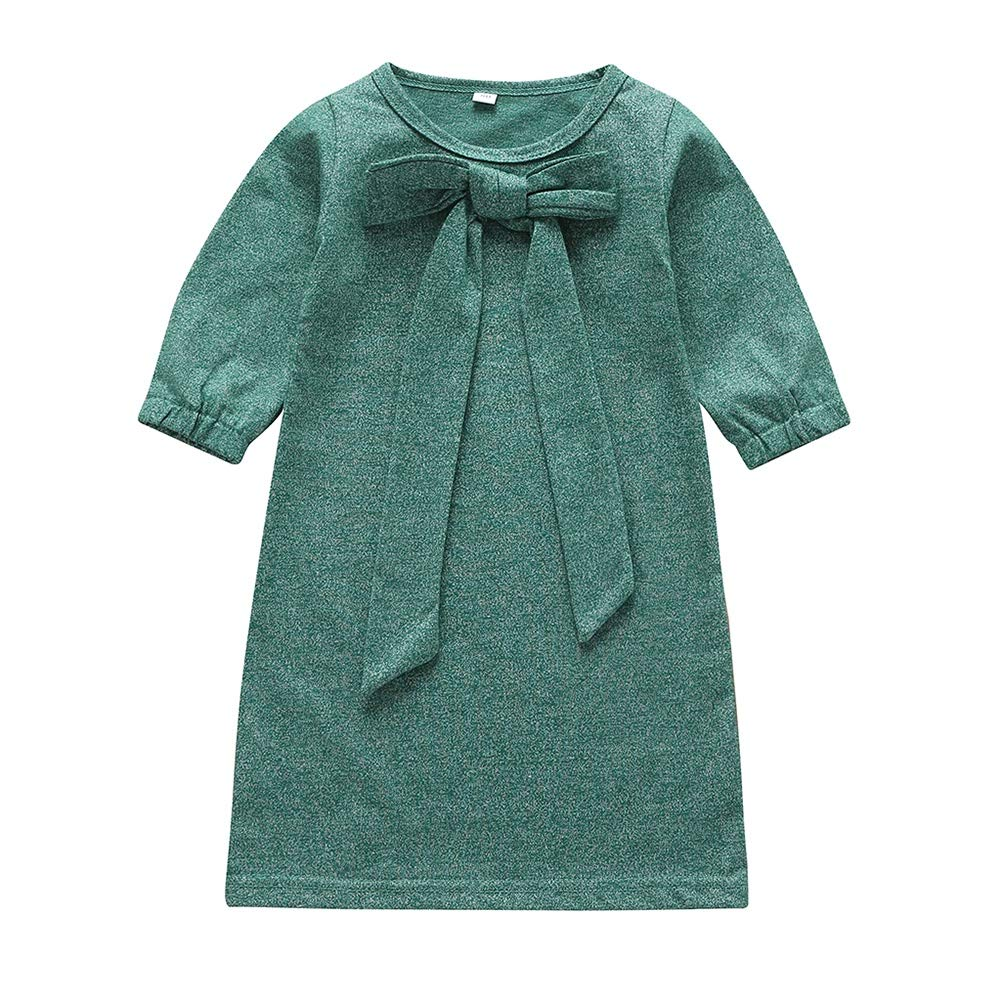 Timall Big Bow-Knot Baby Girl Dress Little Princess Solid Color Long Sleeve Dress Infant Clothing