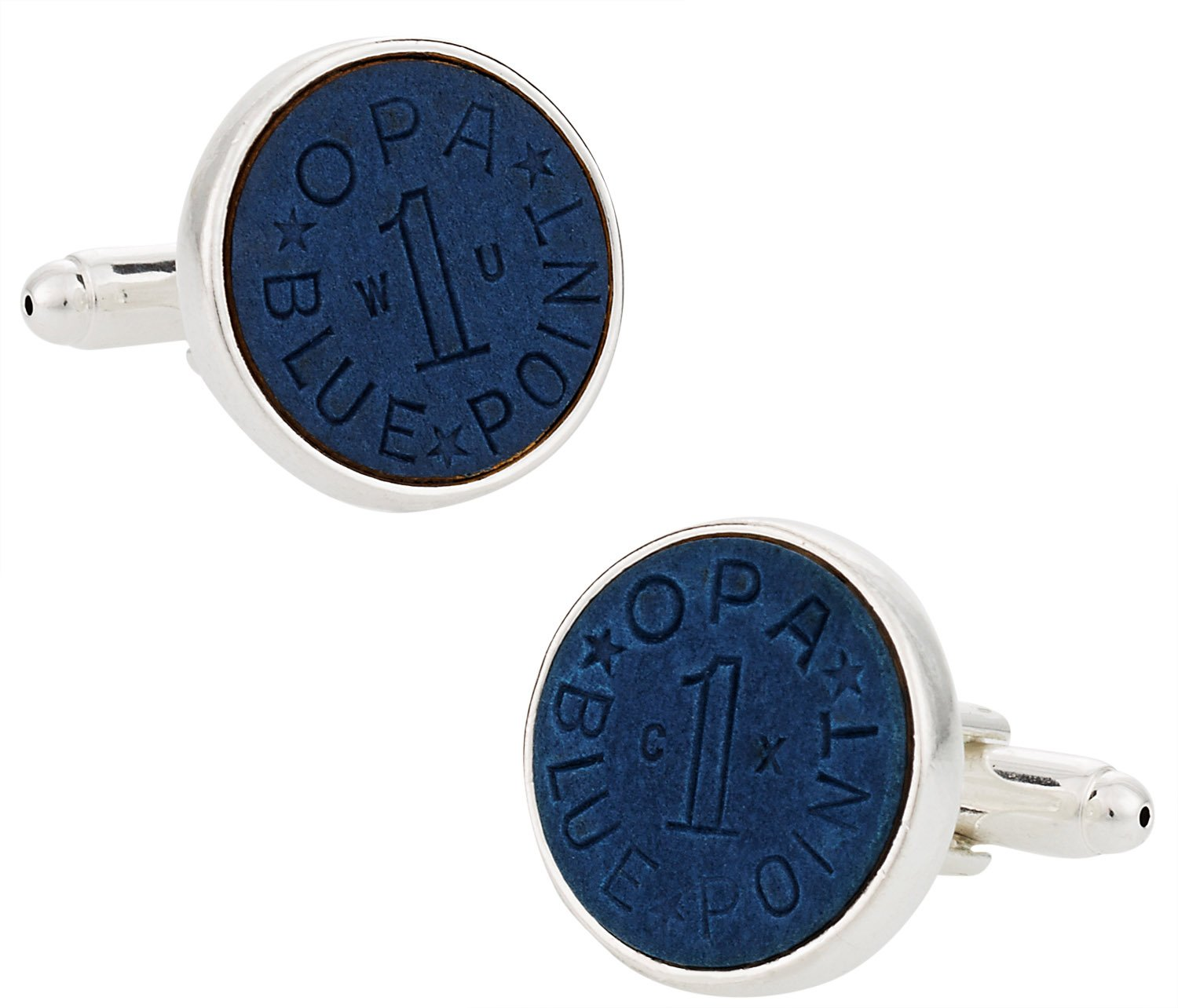 Cuff-Daddy OPA Blue Point WWII Ration Cufflinks Plated with Sterling Silver with Presentation Box