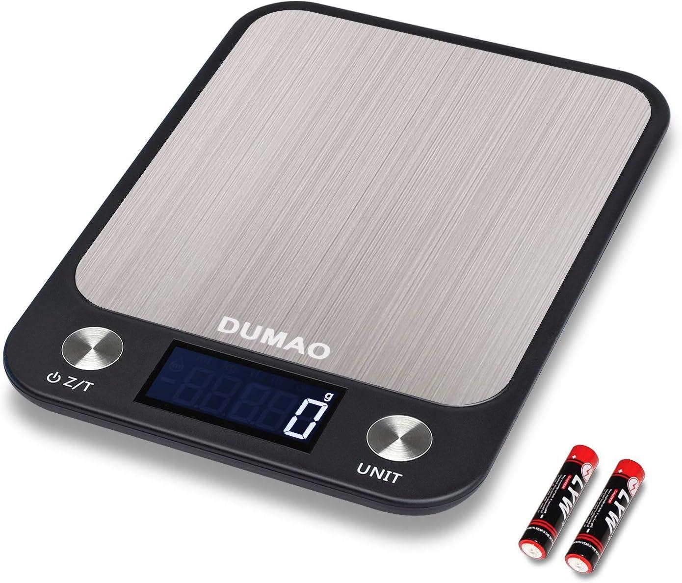 DUMAO Bilancia da Cucina Digitale Multifunzione ad Alta Precisione con LCD Alimentari Elettronica Rimozione Tara Superficie in Acciaio Inox