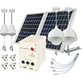 4 Lamps, 25W ALUMINUM Solar Panel, LITHIUM Battery Solar Home System, ANGLE ADJUSTABLE BRACKETS to get MAXIMAL SUNSHINE