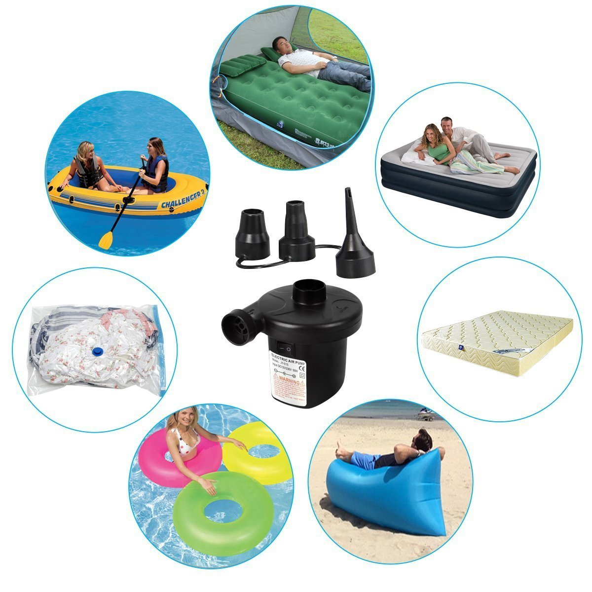 Portable Electric Air Pump Quick-Fill Inflator With 3 Interconnection Nozzles for Balloon Air Mattress Bed Raft Pool Toy Outdoor Camping Inflatable Cushions Boats Swimming Ring (Wall Charger)